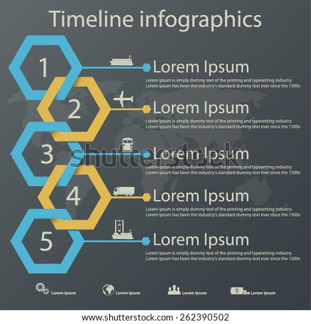 Time line infographics vector template with steel blue and gold colors paper effect showing a range of five options in text boxes. Icons for shipping business. - stock vector