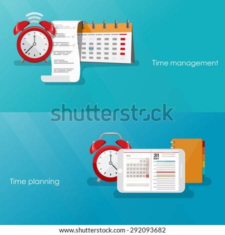 Time management concept planning, organization, working time. Flat vector illustration.