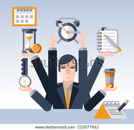 Time management concept with multitasking businessman with many hands and successful planning elements vector illustration - stock vector