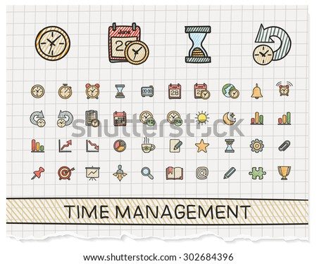 Time management hand drawing line icons. Vector doodle pictogram set: color pen sketch sign illustration on paper with hatch symbols: schedule, alarm, event, calendar, graphic, plan, date, bell. - stock vector