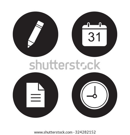 Time management icons set. Organizer web application interface items. Write a note and new document symbols. White silhouettes illustrations on black circles. Vector infographics elements - stock vector