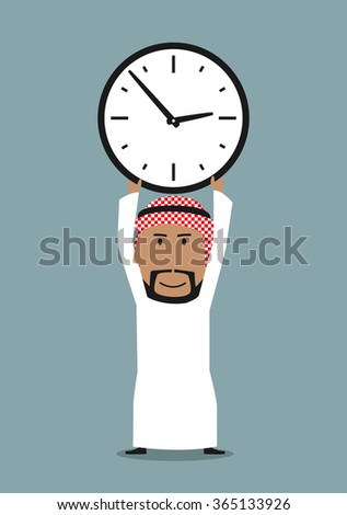 Time management or time is money business concept. Smiling cartoon arabian businessman holding office clock above head - stock vector