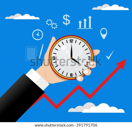 Time management. Vector modern illustration in flat style with male hand holding clock. - stock vector