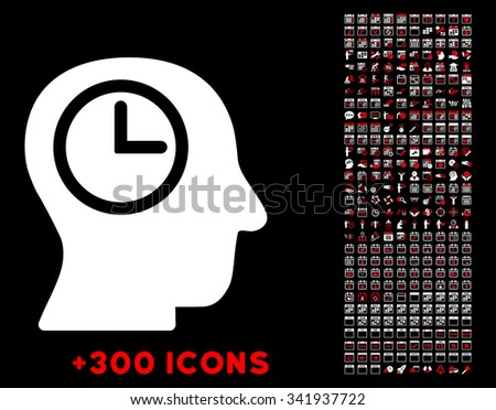 Time Manager vector pictogram with additional 300 date and time management icons. Style is bicolor flat symbols, red and white colors, rounded angles, black background. - stock vector