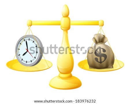 Time money balance scales concept illustration with a clock on one side and A sack of money with a dollar sign  on the other - stock vector
