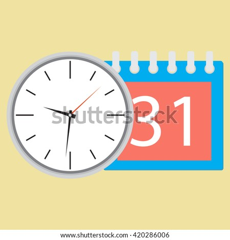 Time planning clock with calendar date. Plane and strategy,  business plan and plan icon, planning process business day and calendar time month event. Vector flat design illustration - stock vector