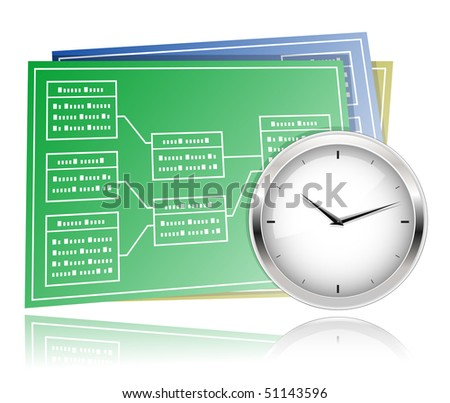 Time schedule planning. Extreme Programming. Clock and UML Diagram. - stock vector