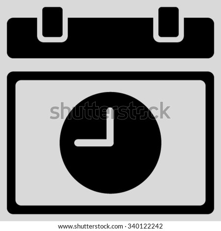 Time Schedule vector icon. Style is flat symbol, black color, rounded angles, light gray background. - stock vector