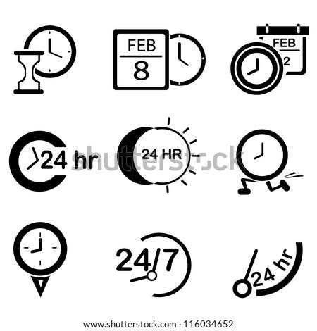 time set, clock set - stock vector