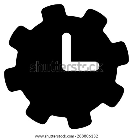 Time settings icon from Business Bicolor Set. This flat vector symbol uses black color, rounded angles, and isolated on a white background. - stock vector