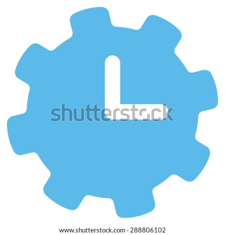 Time settings icon from Business Bicolor Set. This flat vector symbol uses blue color, rounded angles, and isolated on a white background.