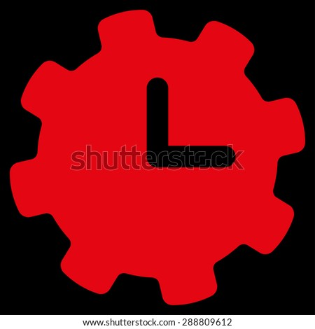 Time settings icon from Business Bicolor Set. This flat vector symbol uses red color, rounded angles, and isolated on a black background. - stock vector