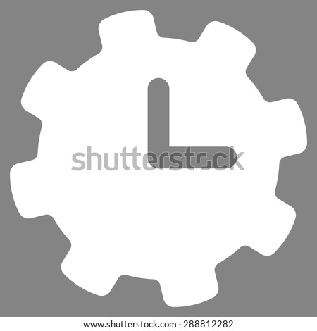 Time settings icon from Business Bicolor Set. This flat vector symbol uses white color, rounded angles, and isolated on a gray background. - stock vector