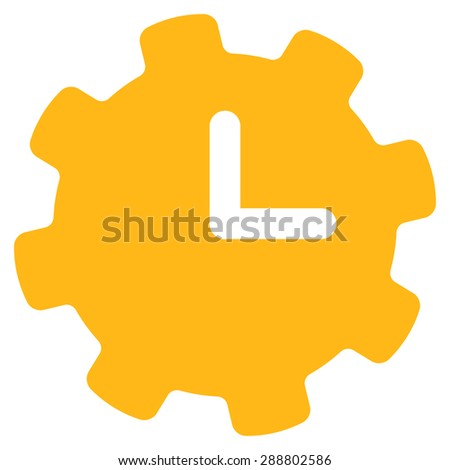 Time settings icon from Business Bicolor Set. This flat vector symbol uses yellow color, rounded angles, and isolated on a white background. - stock vector