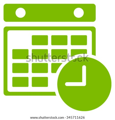 Time Table vector icon. Style is flat symbol, eco green color, rounded angles, white background. - stock vector
