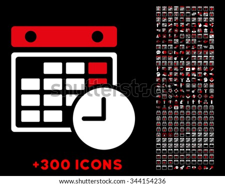 Time Table vector pictogram with additional 300 date and time management icons. Style is bicolor flat symbols, red and white colors, rounded angles, black background. - stock vector
