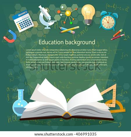 education open book school concept power stock vector