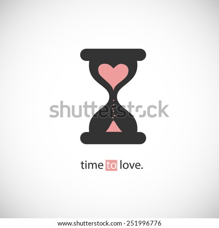 time to love, hourglass silhouette with heart inside. vector illustration icon. - stock vector