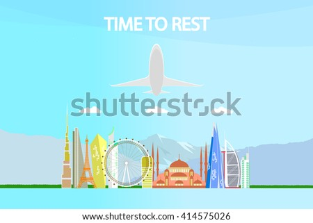 time to rest. Travel the world. Travel and tourism. travel vector illustration. - stock vector