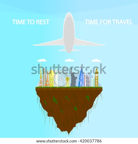 time to rest. Travel the world. Travel and tourism. travel vector illustration. floating island, tourism in the world, tourism airplane, tourism Europe, tourism and rest - stock vector