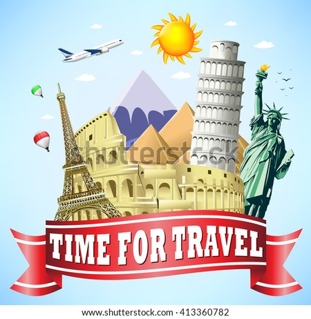 Time to Travel Red Ribbon with Famous Landmarks of the World  - stock vector