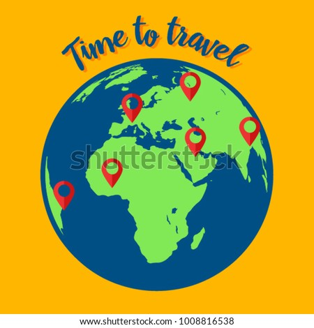 Time travel template world map earth stock vector 1008816538 time to travel template the world map or earth globe with pointers sign around gumiabroncs Image collections