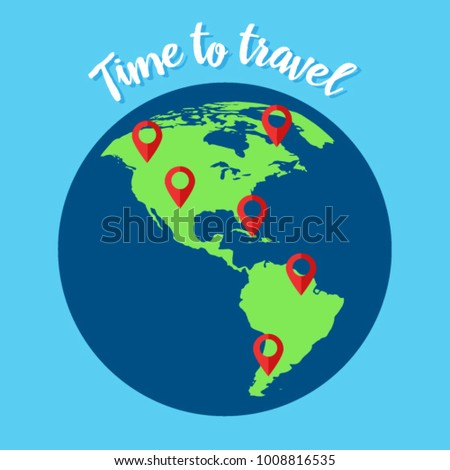 Time travel template world map globe stock vector 1008816535 time to travel template the world map or globe with pointers sign around the gumiabroncs Image collections