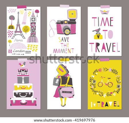 Time To Travel. Vector set of Beautiful Travel Posters - stock vector
