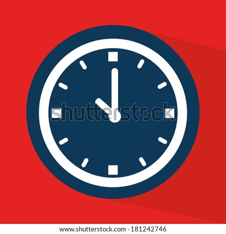 time watch over red background vector illustration - stock vector