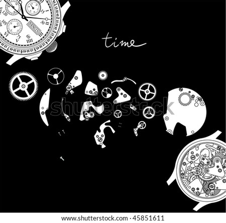 Time. Watch parts. - stock vector