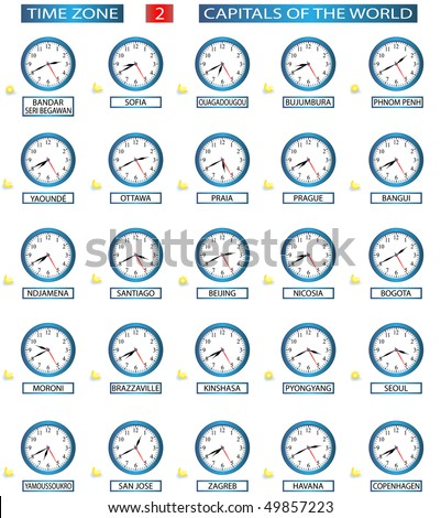 TIME ZONE 2 - ALL CAPITALS OF THE WORLD - FILE 2/8 - stock vector