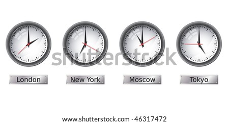 Time zone clocks - stock vector