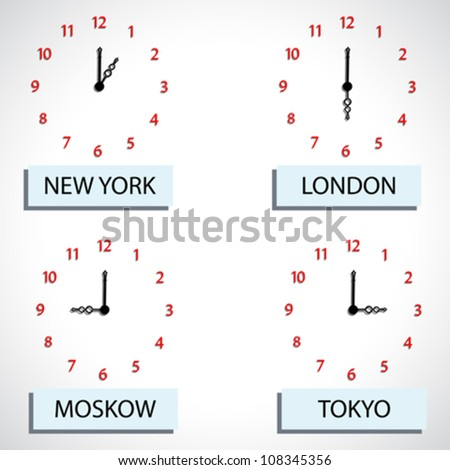 time zone hours, abstract vector art illustration - stock vector