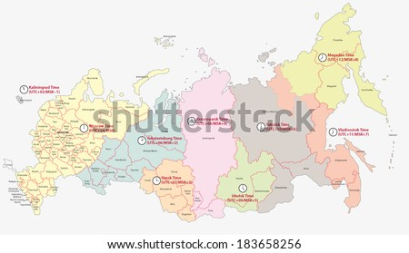 time zones in russia, map - stock vector