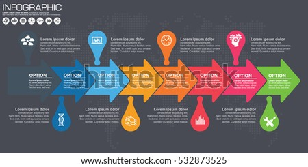 Timeline arrow vector infographic world map stock photo photo timeline and arrow vector infographic world map background gumiabroncs Gallery