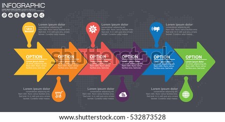 Timeline arrow vector infographic world map stock vector 532873528 timeline and arrow vector infographic world map background gumiabroncs Gallery