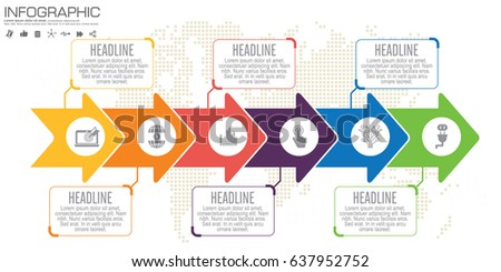 Timeline arrow vector infographic world map stock vector 637952752 timeline and arrow vector infographic world map background gumiabroncs Image collections