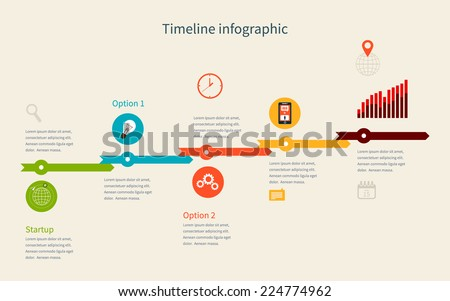 Timeline Infographic business with diagrams. With set of Icons. Vector design - stock vector