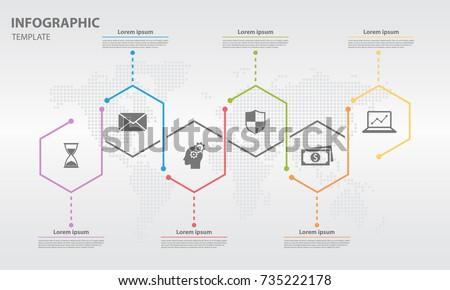 Timeline Infographic Design Template Hexagon 6 Stock-Vektorgrafik ...