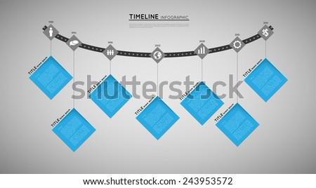 timeline infographic template with icons, flat design effect - stock vector