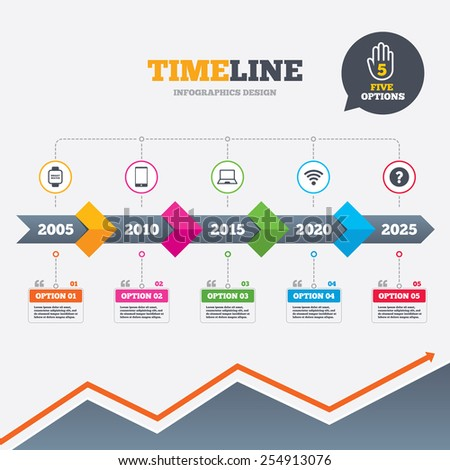 Timeline infographic with arrows. Notebook and smartphone icons. Smart watch symbol. Wi-fi sign. Wireless Network symbol. Mobile devices. Five options with hand. Growth chart. Vector - stock vector