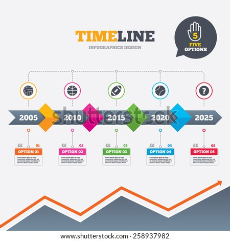 Timeline infographic with arrows. Sport balls icons. Volleyball, Basketball, Baseball and American football signs. Team sport games. Five options with hand. Growth chart. Vector - stock vector