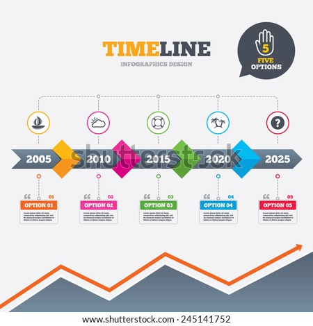 Timeline infographic with arrows. Travel icons. Sail boat with lifebuoy symbols. Cloud with sun weather sign. Palm tree. Five options with hand. Growth chart. Vector - stock vector