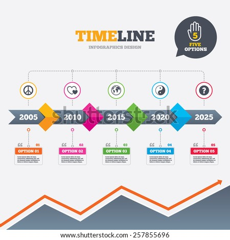 Timeline infographic with arrows. World globe icon. Ying yang sign. Hearts love sign. Peace hope. Harmony and balance symbol. Five options with hand. Growth chart. Vector - stock vector