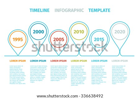 Timeline Infographic with dated pins and text in line art style. - stock vector