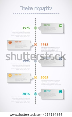 Timeline Infographic with speech bubble. Vector can be used for infographics, number options, workflow, diagram or website layout. - stock vector