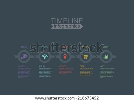 Timeline Infographics circles vector design template for financial reports, website, blog, infographic statistics. Editable. - stock vector