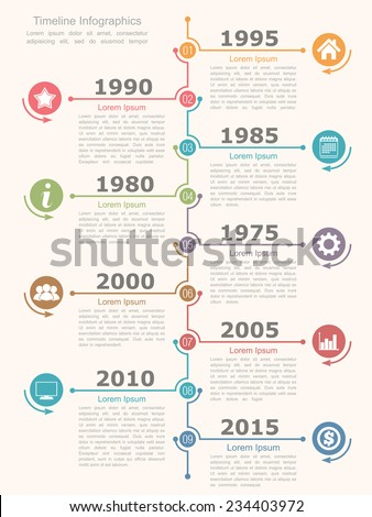 Timeline infographics design template, vector eps10 illustration - stock vector