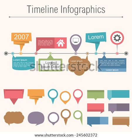 Timeline infographics design template with different elemnts for your content, vector eps10 illustration - stock vector