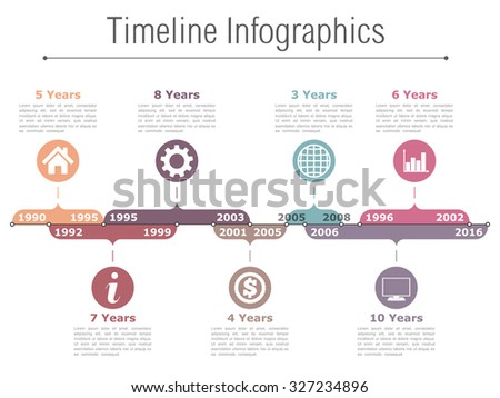 Timeline infographics design template with different time intervals, vector eps10 illustration - stock vector